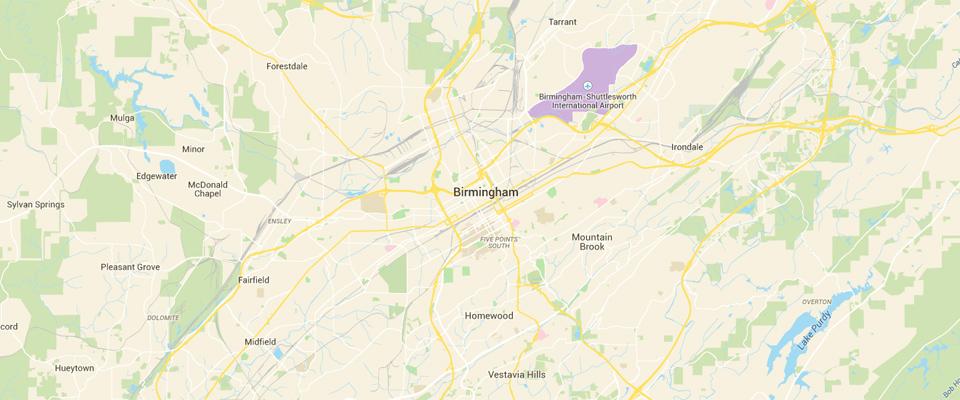 Birmingham Dumpster Rental Service Map